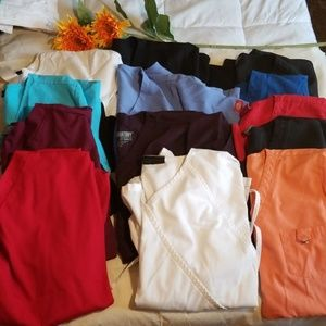 LOT of 10 large scrub tops